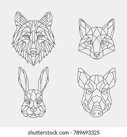 A set of geometric linear polygonal wild animals.Abstract head of a wild boar, wolf, rabbit and fox. Vector. Sketch for tattoo or coloring book.