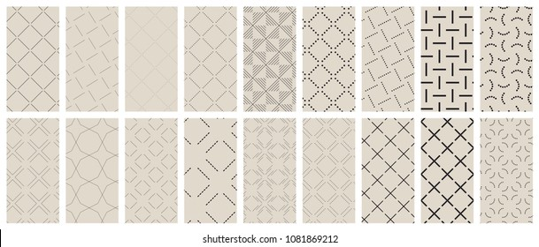 Set of geometric lines and dotted seamless patterns. Abstract vector backgrounds for illustrations, textures, fabrics etc.