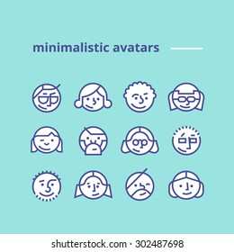 Set of geometric minimalist avatars icons for web site or social network Simple and clean modern design Hipster style Pack of trendy monochrome icons Line art Stock vector