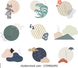 Set of geometric modern graphic elements vector. Asian icons with Japanese pattern. Abstract banners with flowing liquid shapes. Template for logo design, flyer or presentation.