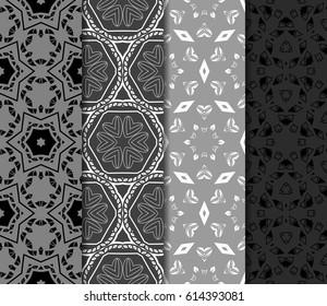 set of geometric ornament on color background. Seamless vector illustration. For interior design, wallpaper