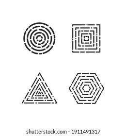 Set of geometric outline shape icon vector, abstract monoline shape.