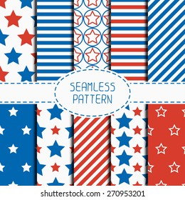e2b7ed94c550 Set of geometric patriotic seamless pattern with red