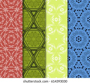 set of geometric pattern oriental style. Ethnic ornament. Vector illustration. For modern interior design, fashion textile print, wallpaper, decor panel