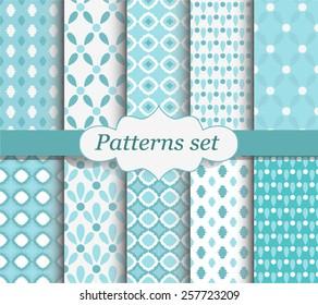 Set of geometric patterns. White and blue