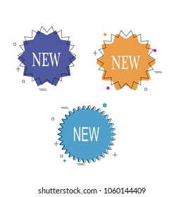 Set of geometric polygonal new star burst sticker label banner web icon element logo collection illustration vector isolated