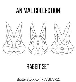 Set of geometric rabbit head isolated on white background vintage vector design element illustration