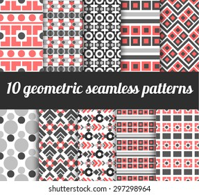 set of geometric round seamless patterns. For card and  textile design
