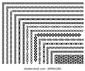 Set of geometric seamless border patterns in oriental style. Linear abstract motif background. Monochrome decoration design