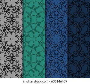 set of geometric seamless pattern of different geometric shapes. vector illustration.