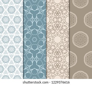 Set Of Geometric Seamless Pattern. Modern Floral Ornament. Vector Illustration. For The Interior Design, Wallpaper, Decoration Print, Fill Pages, Invitation Card, Cover Book.