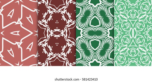 SET OF Geometric seamless pattern. Modern floral ornament. vector illustration. For interior design, wallpaper, decoration print, fill pages, fabric, decor, print