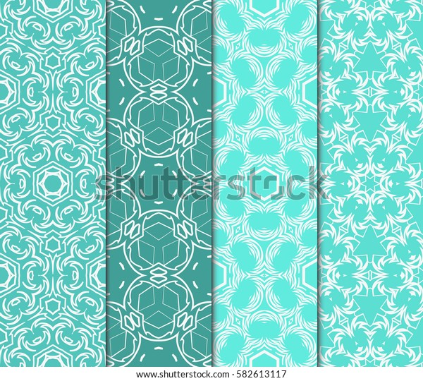 set of Geometric seamless pattern. Modern floral ornament. Vector illustration. For the interior design, wallpaper, decoration print, fill pages.