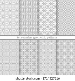 Set geometric seamless patterns. Abstract geometric backgrounds grey color. Vector illustration. Collection repeating textures. Elegant ornament. Modern design paper, wallpaper, textile, cover, print.