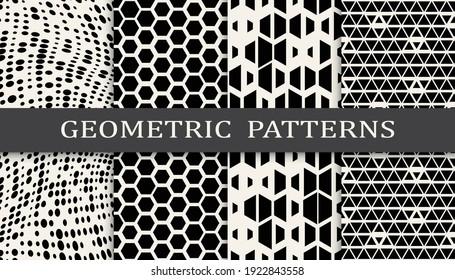 Set of geometric seamless patterns. Abstract geometric graphic design simple pattern. Seamless geometric halftone pattern.