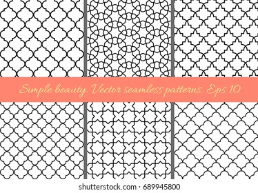 Set of geometric seamless patterns in Oriental style. Lattice, quatrefoil, tiles. Moroccan, arabic, traditional backgrounds.