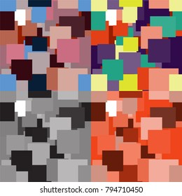 Set of geometric seamless patterns with simple colorful square elements for web design