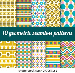 set of geometric seamless patterns. For textile design, backgrounds