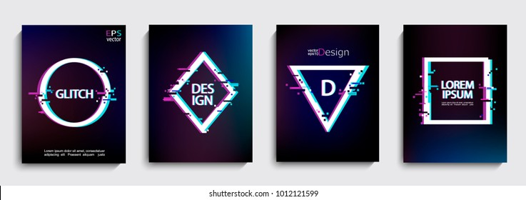 Set of geometric shapes, frame with glitch style. Vector illustration with geometric frames for business and gift cards, covers, invitations, flyers, banners, posters.