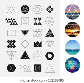 Set of geometric shapes. Hipster retro backgrounds and logotypes.