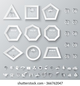 Set of geometric shapes for infographic. Template for diagram, graph, presentation and chart. Set of business icons with long shadow. 10 steps.