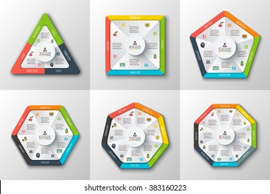 Set of geometric shapes for infographic. Template for cycle diagram, graph, presentation round chart. Business concept with options, parts, steps or processes. Abstract background.