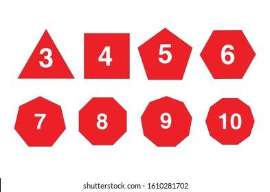 Set of Geometric shapes for infographic, Triangle,Square,Pentagon,Hexagon, Heptagon,Octagon,nonagon,decagon charts, infographic Diagram