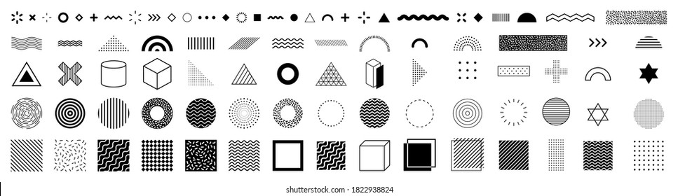 Set of geometric shapes. Memphis design, retro elements for web, vintage, advertisement, commercial banner, poster, leaflet, billboard, sale. Collection trendy halftone vector geometric shapes.