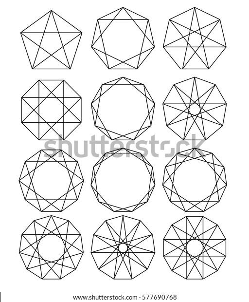 Set Geometric Shapes Sacred Geometry Lines Stock Vector