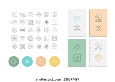 Set of geometric shapes. Trendy hipster retro backgrounds and logotypes.