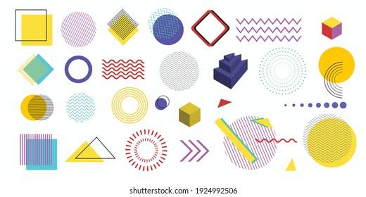 Set of geometric shapes.Memphis design, retro elements for web, vintage, advertisement, commercial banner, poster, leaflet, billboard, sale.Vector geometric shapes.