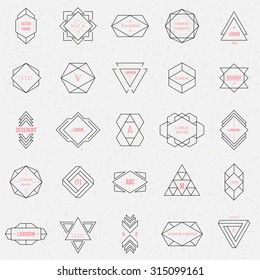 Set geometric signs, labels, and frames. Triangles. Line design elements, vector illustration