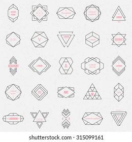 Set geometric signs, labels, and frames. Triangles. Line design elements, vector illustration