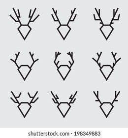 Set of geometric symbols of deer head, simple modern design, vector illustration