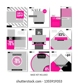 Set of Geometric Templates, Pack for Creating Unique Content. Elegant Duotone Posters. Furniture Sale Business Flyers for Social Media. Promotion Discount Promo Ad. Vector Illustration. Square Banner.