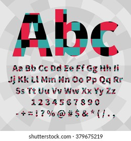 Set of geometric vector alphabet and numbers. Material geometry. EPS8