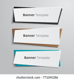 Set of geometric vector banners. Annotation ribbon. Advertising Design shape.  Vector label tag.