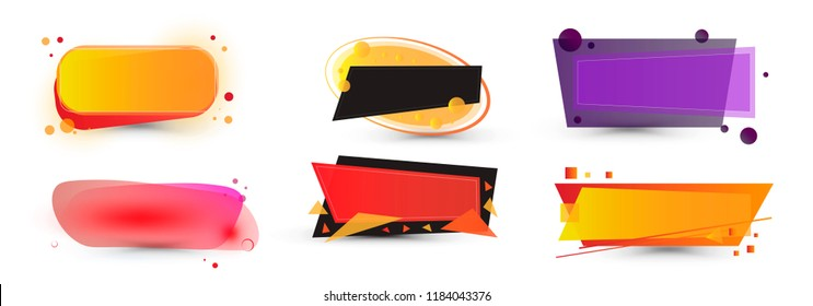Set of geometric vector banners. Glossy plastic material style. Price Sale labels. Sale banner layout design.
