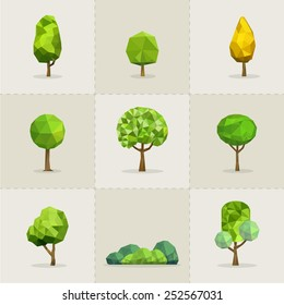 Set of geometric vector trees, Abstract tree low poly, Vector illustrator