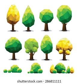Set of geometric vector trees on white background