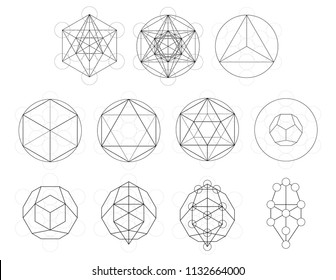 Set of geometrical elements and shapes. Sacred Geometry Metatron Cube development. Vector designs