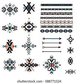 Set of geometrical tribal elements and borders.