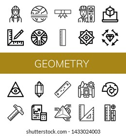 Set of geometry icons such as Architect, Ruler, Equator, Vitruvian man, Degree, Philosophy, Cube, Boho, Freemasonry, Crystal, Maths, Geometry, Panorama, Rulers, Nautilus , geometry