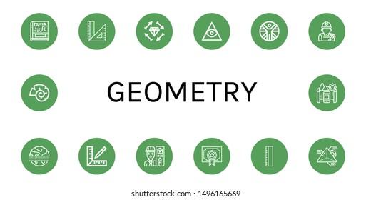 Set of geometry icons such as Calculus, Rulers, Boho, Freemasonry, Vitruvian man, Miner, Equator, Ruler, Architect, Degree, Geometry, Nautilus, Panorama , geometry