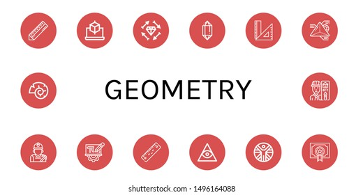 Set of geometry icons such as Ruler, Cube, Boho, Crystal, Rulers, Geometry, Miner, Mathematics, Freemasonry, Vitruvian man, Degree, Nautilus, Architect , geometry