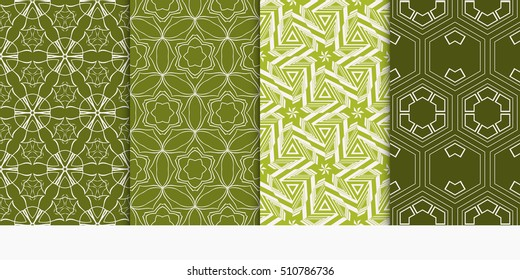 set of geometry seamless pattern. abstract geometry triangle, hexagon. vector illustration. modern ornament. olive color. For design, wallpaper, background fills, card, banner,