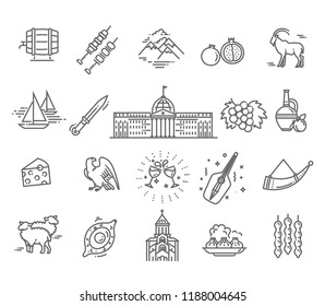 Set of georgian style icons in flat style