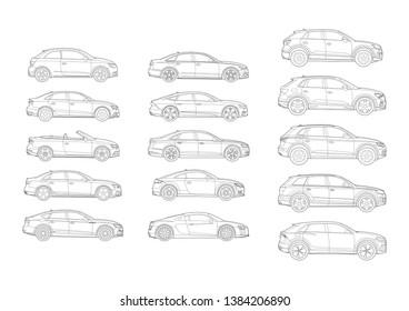 set of German car models side view