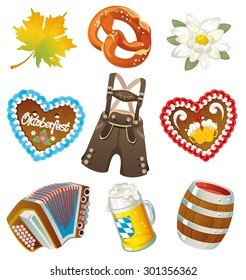 Set of German Oktoberfest vector three-dimensional design elements isolated on white background
