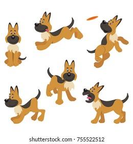 A set of German Shepherd cartoon dog poses